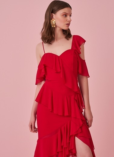 morhipo x dcey Eteği Asimetrik Şifon Elbise Kırmızı